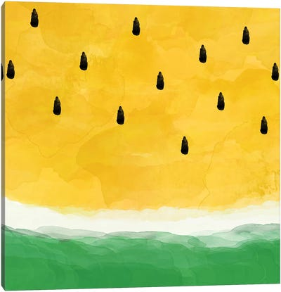 Yellow Watermelon Abstract Canvas Art Print