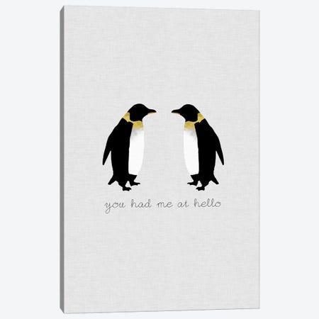You Had Me Penguins Canvas Print #ORA242} by Orara Studio Art Print