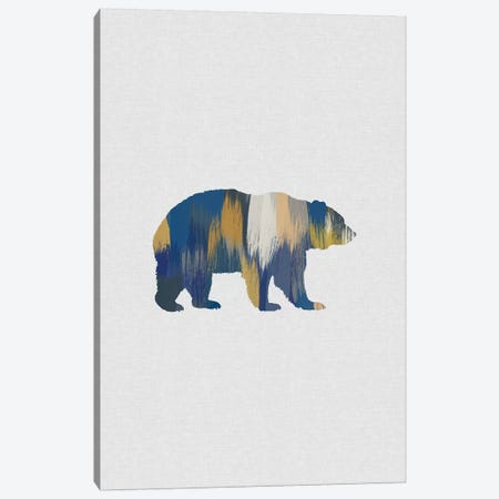 Bear Blue & Yellow Canvas Print #ORA247} by Orara Studio Canvas Art