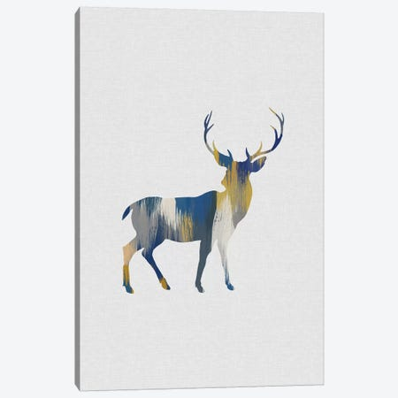 Deer Blue & Yellow Canvas Print #ORA251} by Orara Studio Canvas Artwork