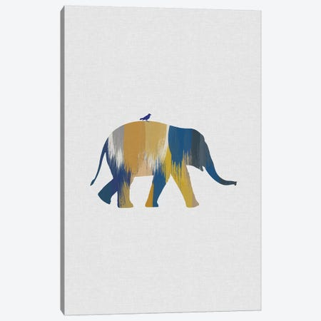 Elephant Blue & Yellow Canvas Print #ORA253} by Orara Studio Canvas Art