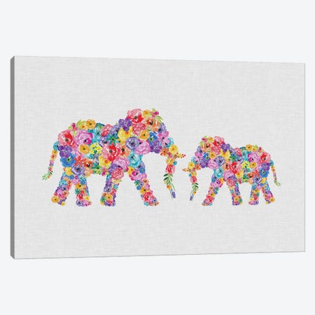 Floral Elephants Canvas Print #ORA255} by Orara Studio Art Print