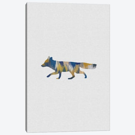 Fox Blue & Yellow Canvas Print #ORA256} by Orara Studio Canvas Art Print
