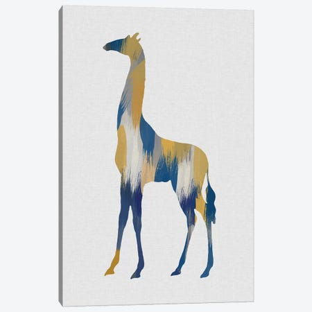Giraffe Blue & Yellow Canvas Print #ORA258} by Orara Studio Canvas Art