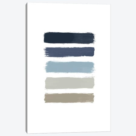 Blue & Taupe Stripes Canvas Print #ORA25} by Orara Studio Canvas Artwork