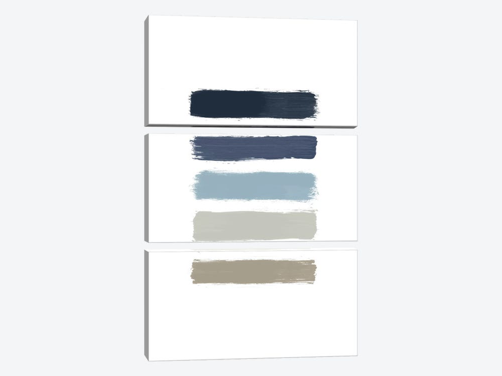 Blue & Taupe Stripes 3-piece Canvas Art