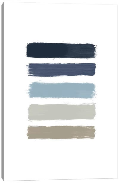 Blue & Taupe Stripes Canvas Art Print