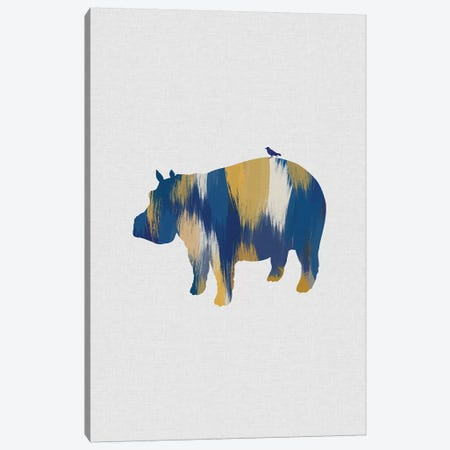Hippopotamus Blue & Yellow Canvas Print #ORA260} by Orara Studio Art Print