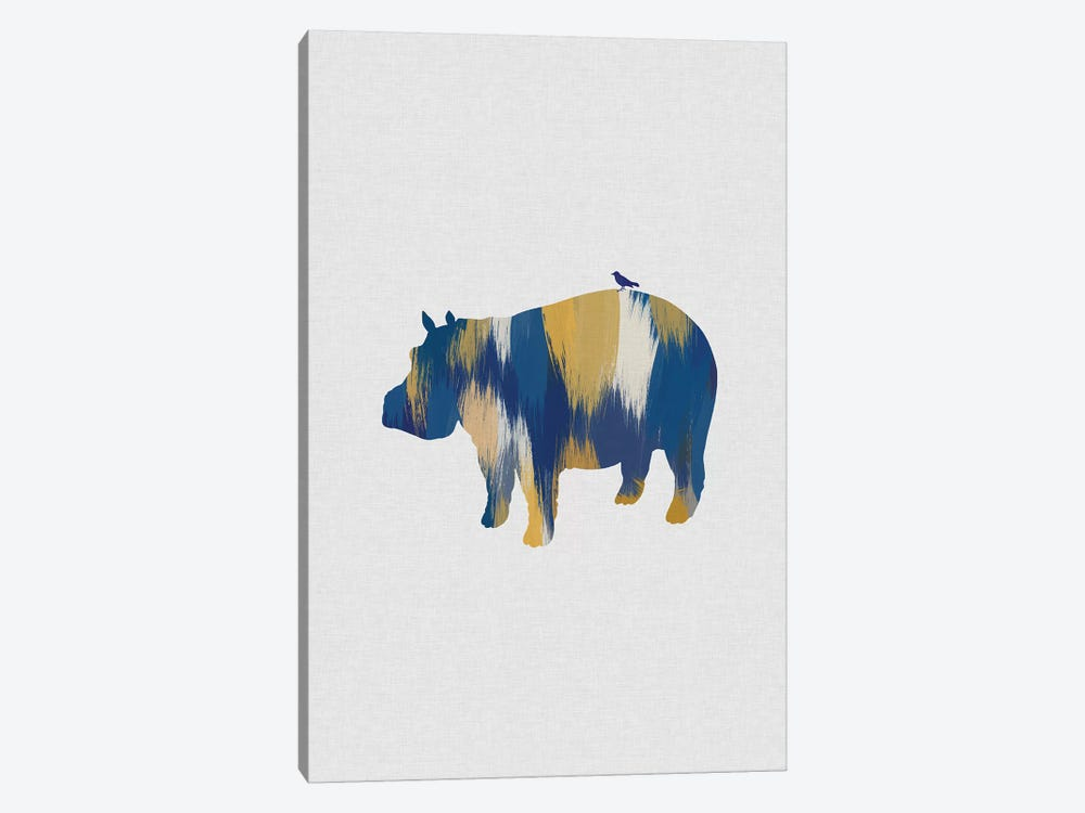 Hippopotamus Blue & Yellow 1-piece Canvas Art Print