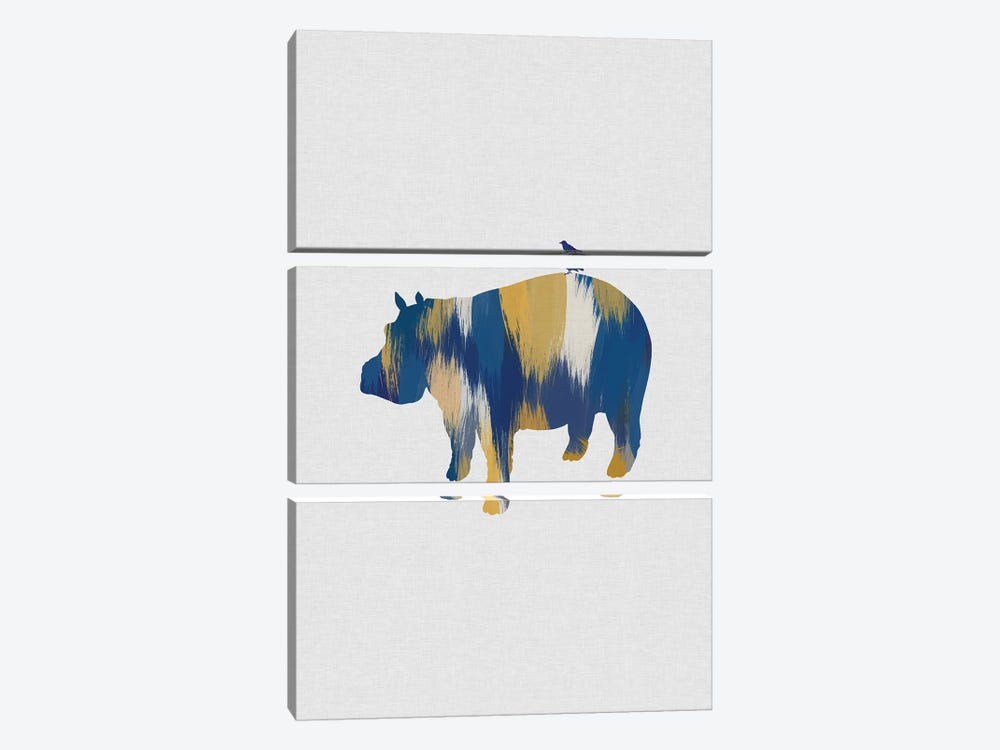 Hippopotamus Blue & Yellow by Orara Studio 3-piece Canvas Art Print