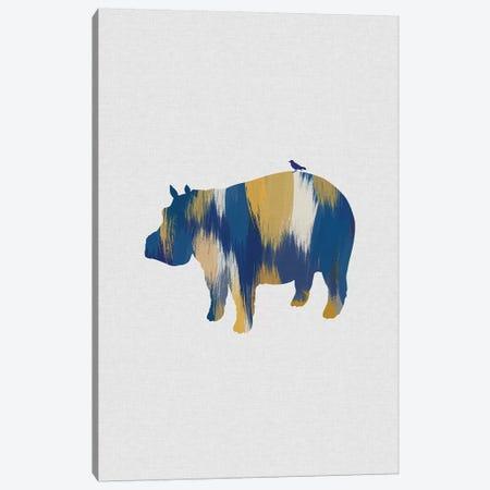 Hippopotamus Blue & Yellow Canvas Print #ORA260} by Orara Studio Art Print