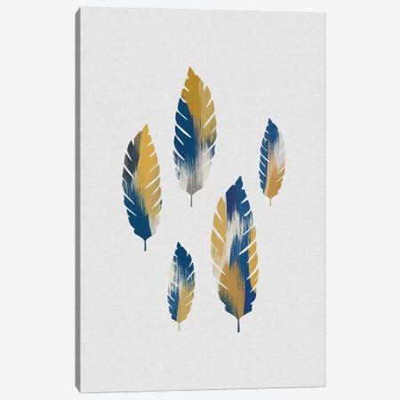 Leaves Blue & Yellow Canvas Print #ORA270} by Orara Studio Canvas Wall Art