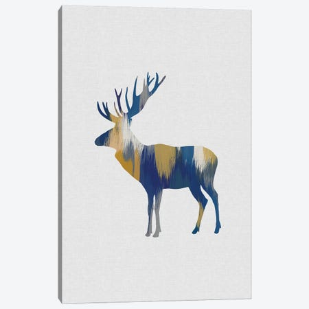 Moose Blue & Yellow Canvas Print #ORA277} by Orara Studio Art Print