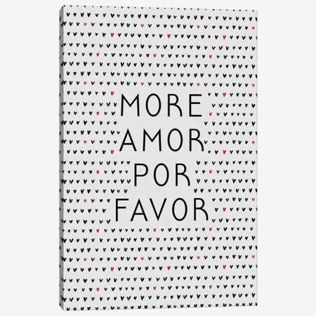 More Amor Black & Red Canvas Print #ORA278} by Orara Studio Canvas Wall Art