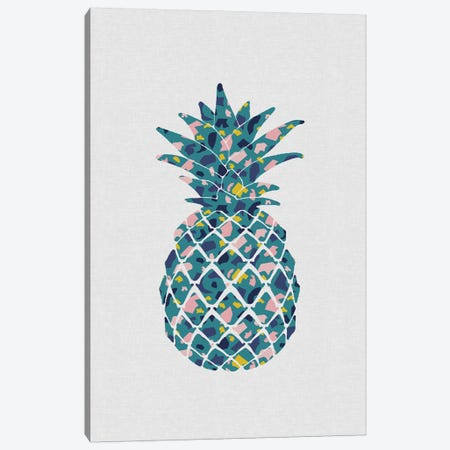 Pineapple Teal Canvas Print #ORA293} by Orara Studio Canvas Wall Art