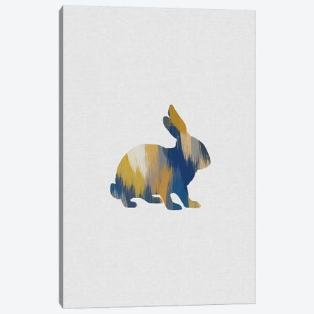 Rabbit Blue & Yellow Canvas Print #ORA294} by Orara Studio Canvas Print