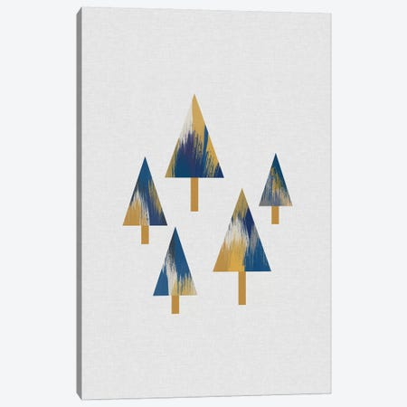 Trees Blue & Yellow Canvas Print #ORA299} by Orara Studio Canvas Wall Art