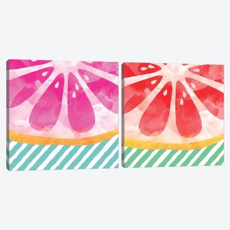 Grapefruit Abstract Diptych Canvas Print Set #ORA2HSET002} by Orara Studio Canvas Print