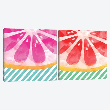 Grapefruit Abstract Diptych Canvas Print Set #ORA2HSET002} by Orara Studio Canvas Print