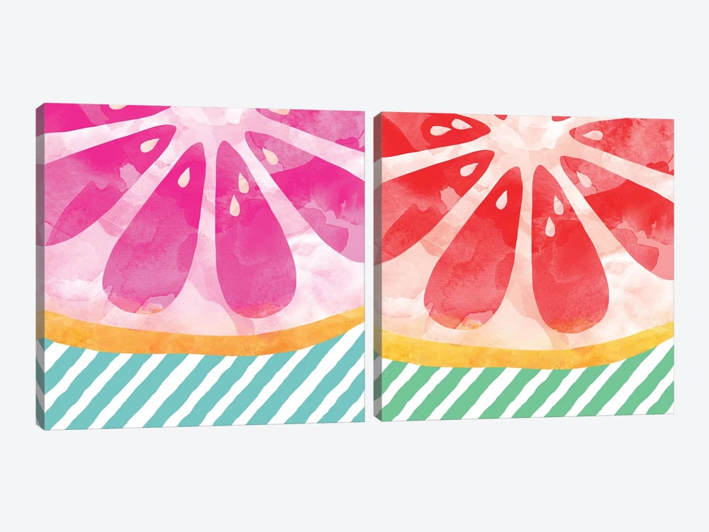Grapefruit Abstract Diptych 2-piece Canvas Artwork