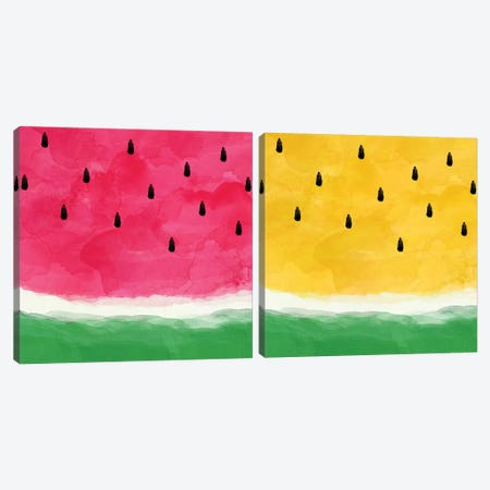 Watermelon Abstract Diptych Canvas Print Set #ORA2HSET003} by Orara Studio Canvas Print