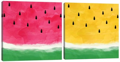 Watermelon Abstract Diptych Canvas Art Print