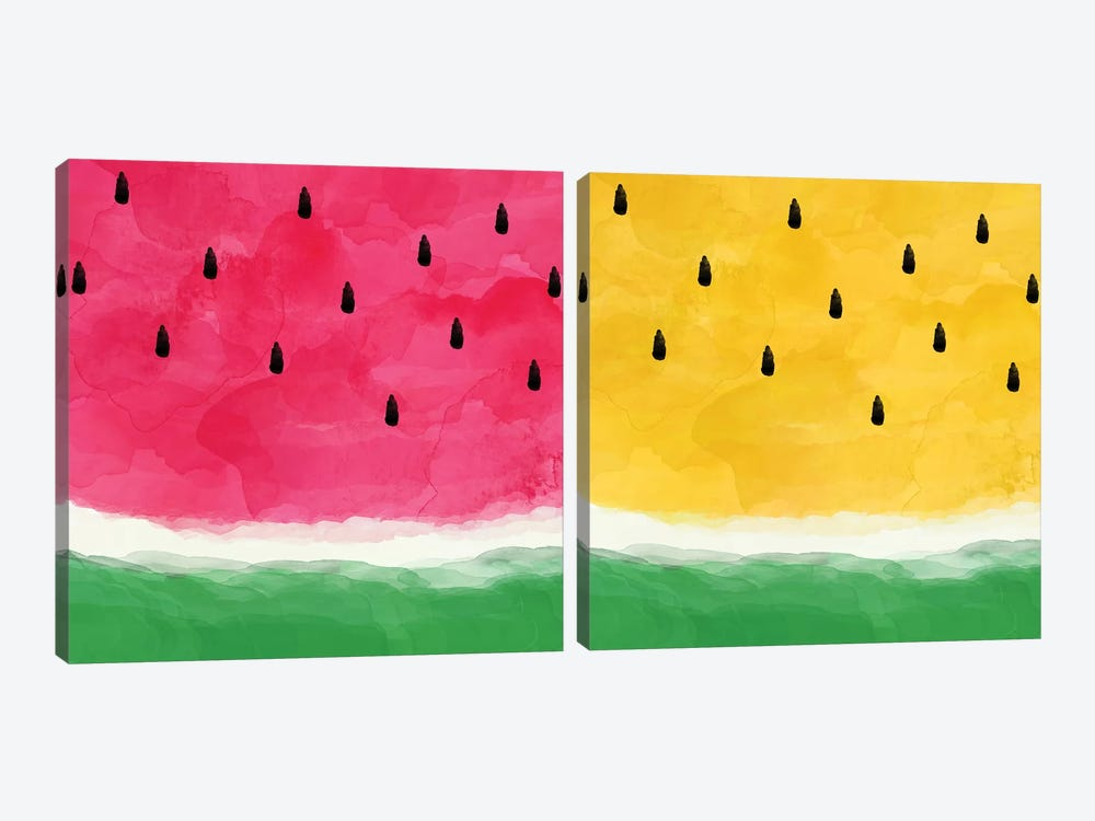 Watermelon Abstract Diptych by Orara Studio 2-piece Canvas Print