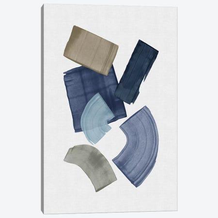 Blue & Brown Paint Blocks Canvas Print #ORA307} by Orara Studio Canvas Art Print