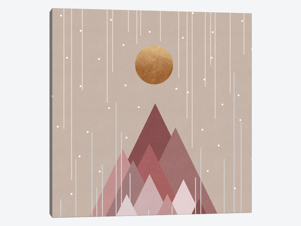 Sun & Mountains Coral Pink by Orara Studio 1-piece Canvas Wall Art