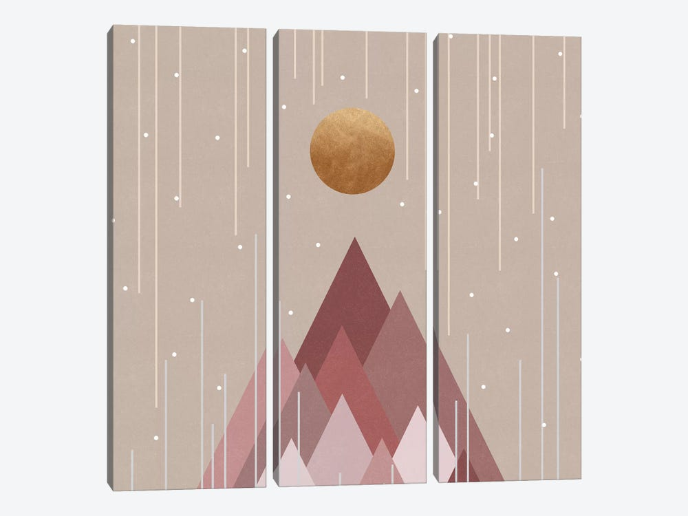 Sun & Mountains Coral Pink by Orara Studio 3-piece Canvas Artwork