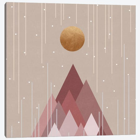 Sun & Mountains Coral Pink Canvas Print #ORA317} by Orara Studio Canvas Art
