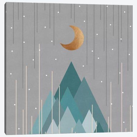 Moon & Mountains Mint Green Canvas Print #ORA318} by Orara Studio Canvas Art Print