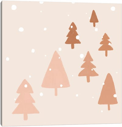 Pastel Winter Trees Canvas Art Print