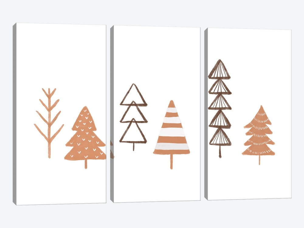 Winter Trees Illustration 3-piece Canvas Print