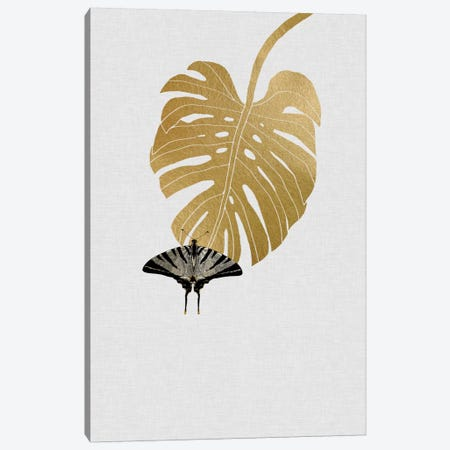 Butterfly & Monstera Canvas Print #ORA39} by Orara Studio Canvas Wall Art