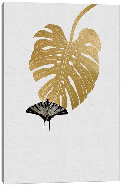 Butterfly & Monstera Canvas Art Print