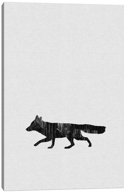 Fox B&W Canvas Art Print