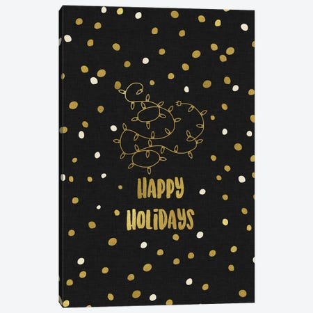 Happy Holidays Gold Canvas Print #ORA92} by Orara Studio Canvas Artwork