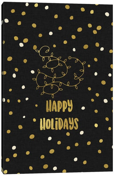 Happy Holidays Gold Canvas Art Print