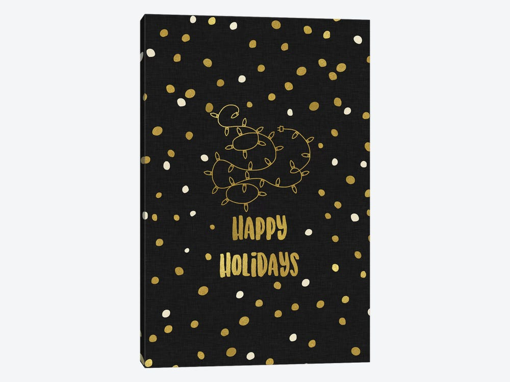 Happy Holidays Gold 1-piece Canvas Wall Art
