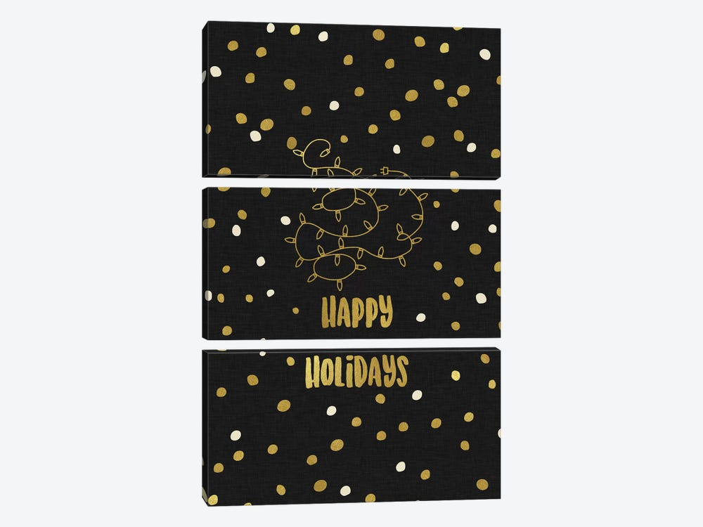 Happy Holidays Gold 3-piece Canvas Wall Art