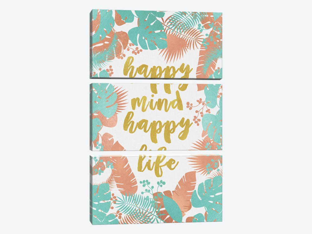 Happy Mind Happy Life by Orara Studio 3-piece Canvas Print