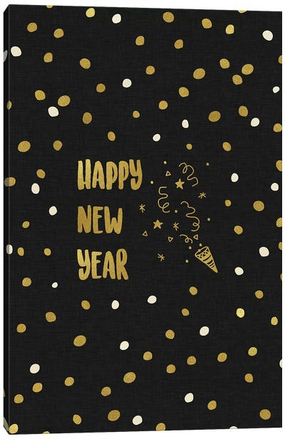 Happy New Year Gold Canvas Art Print