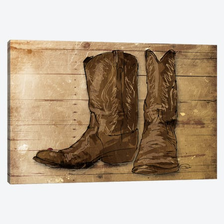 Sketched Boots Canvas Print #ORE10} by On Rei Canvas Wall Art