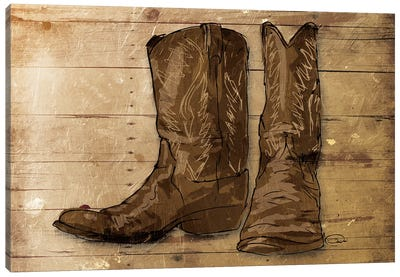 Sketched Boots Canvas Art Print