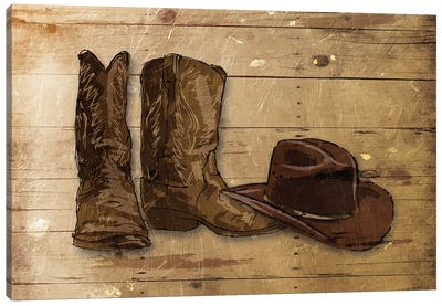 Sketched Hat And Boots Canvas Art Print
