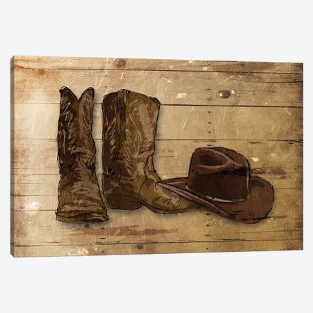 Sketched Hat And Boots Canvas Print #ORE12} by On Rei Canvas Wall Art
