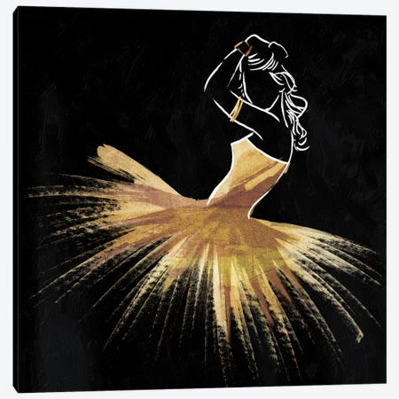 Golden Dress Puff Canvas Print #ORE13} by On Rei Canvas Art