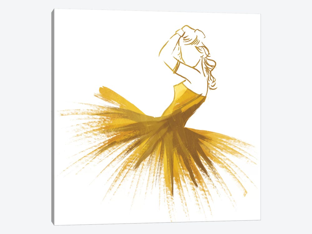 Gold Attitude by On Rei 1-piece Canvas Wall Art