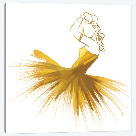 Gold Attitude Canvas Print #ORE1} by On Rei Canvas Art